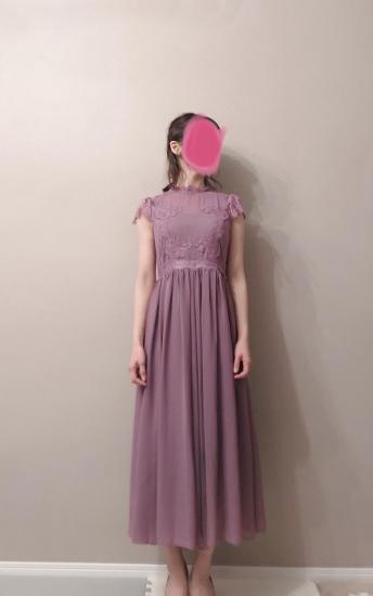 【即納】胸下切替 レースが綺麗なシフォンフレアロングドレスワンピース 紫