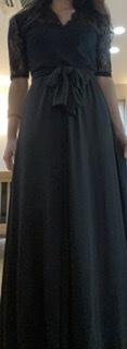【即納】結婚式や二次会に ロングスリットが大人セクシーなレーストップスの袖ありワンピース 2色
