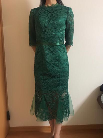 【即納】結婚式やお呼ばれに ドレッシーな総レース 七分袖マーメードラインワンピース グリーン緑