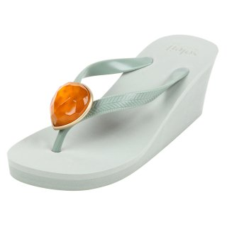 Birthday beach sandal Wedge heel / July / Orange Carnelian / Khaki(7月オレンジカーネリアン・カーキ)