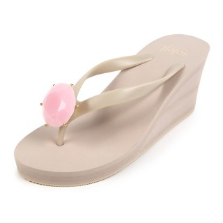 Birthday beach sandal Wedge heel / October / Pink Opal / Beige(10月ピンクオパール・ベージュ)