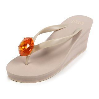 Birthday beach sandal Wedge heel / July / Orange Carnelian / Beige(7月オレンジカーネリアン・ベージュ)