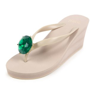 Birthday beach sandal Wedge heel / May / Emerald / Beige(5月エメラルド・ベージュ)