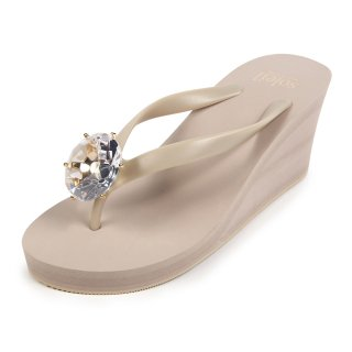 Birthday beach sandal Wedge heel / April / Diamond / Beige(4月ダイヤモンド・ベージュ)