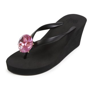 Birthday beach sandal Wedge heel / February / Amethyst / Black(2月アメジスト・ブラック)