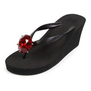 Birthday beach sandal Wedge heel / January / Garnet / Black(1月ガーネット・ブラック)