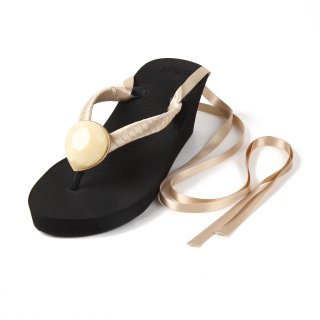 Ribbon beach sandal Wedge heel / June / Pearl / Black(6月パール・ブラック)