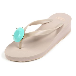 Birthday beach sandal Low heel / December / Turquoise / Beige(12月ターコイズ・ベージュ)