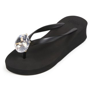 Birthday beach sandal Low heel / April / Diamond / Black(4月ダイヤモンド・ブラック)