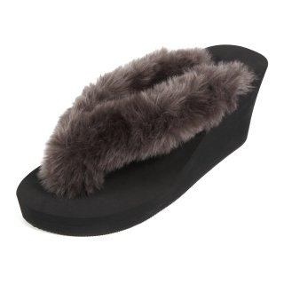 New fur sandal Wedge heel /  Black(グレーファー・ブラック)