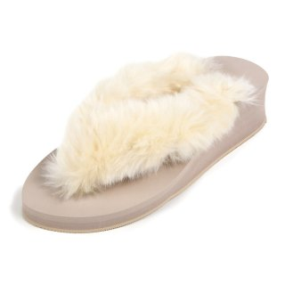 New fur sandal Low heel /  Beige(ホワイトファー・ベージュ)