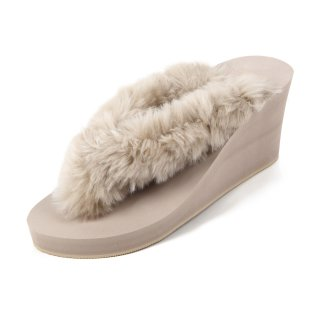 New fur sandal Wedge heel /  Beige(ベージュファー・ベージュ)