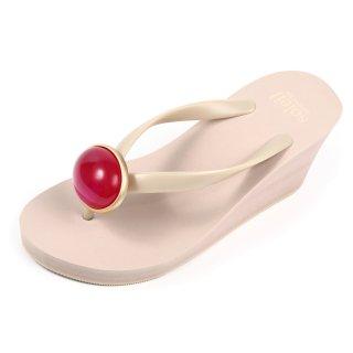 Oval stone sandal Wedge heel / July / Ruby / Beige(7月ルビー・ベージュ)