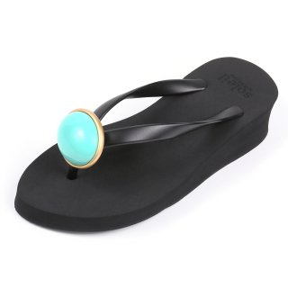 Oval stone sandal Low heel / December / Turquoise / Black(12月ターコイズ・ブラック)