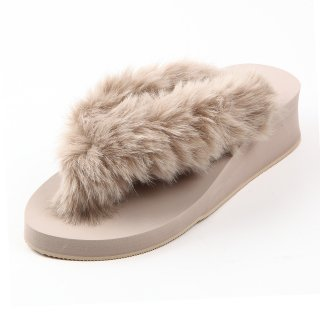 New fur sandal Low heel /  Beige(ベージュファー・ベージュ)