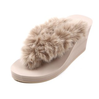 New fur sandal Wedge heel /  Beige(ベージュファー・ベージュ)