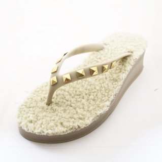 Studs square fur sole sandal Low heel /  Beige(スタッズ・ファーソール・ベージュ)