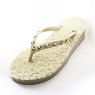 Studs star fur sole sandal Low heel /  Beige(スタッズ・ファーソール・ベージュ)