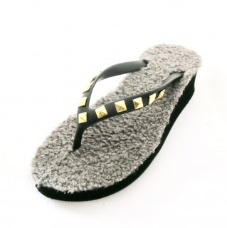 Studs square fur sole sandal Low heel /  Black(スタッズ・ファーソール・ブラック)