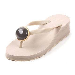 Oval stone sandal Low heel / June / Moonstone / Beige(6月ムーンストーン ・ベージュ)