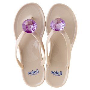 Birthday beach sandal Low heel / February / Amethyst / Beige(2月アメジスト・ベージュ)