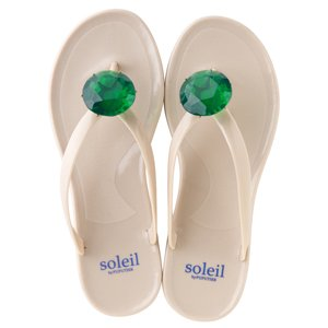 Birthday beach sandal Low heel / May / Emerald / Beige(5月エメラルド・ベージュ)