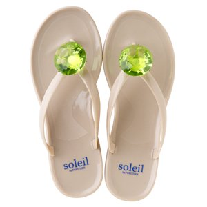 Birthday beach sandal Low heel / August / Peridot / Beige(8月ペリドット・ベージュ)