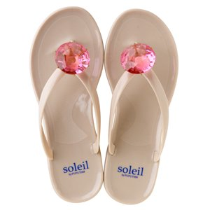 Birthday beach sandal Low heel / September / Pink Sapphire / Beige(9月ピンクサファイヤ・ベージュ)