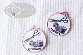フランス製 アップリケ Couture ピンク×ブルーストライプ