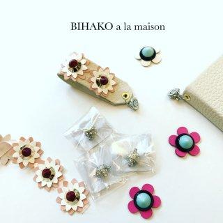 お花型 スタッズ風飾り合皮ワッペン 全4種類