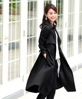 Sleek touch ribbon cuffs Trench coat「K485」