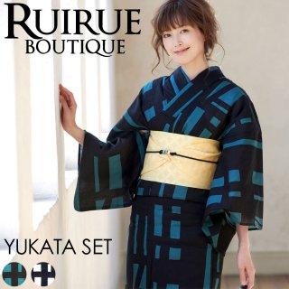 高級変わり織り浴衣三点セット(浴衣+作り帯+下駄)「YU772」