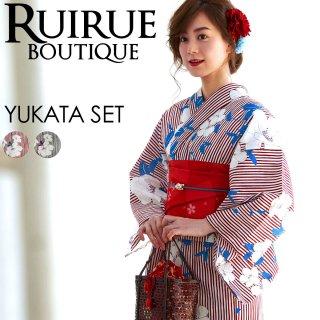 高級変わり織り日本染め浴衣三点セット(浴衣+作り帯+下駄)「YU776」