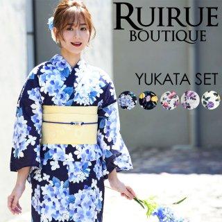 高級変わり織り日本染め浴衣三点セット(浴衣+作り帯+下駄)「YU778」