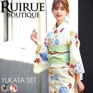 高級変わり織り日本染め浴衣三点セット(浴衣+作り帯+下駄)「YU779」