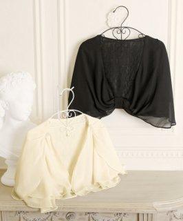 ヴェールのように上品な透け感がドレスアップを引き立てるパールビジューレースケープボレロ(BR313)