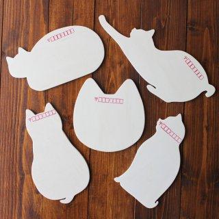 木製 猫はがき(5種類セット)13.CATS.WORKSオリジナル