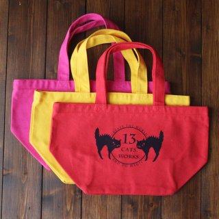 お弁当にも使えるサイズのカラフル帆布ミニトートバッグ(ロゴ) シルクスクリーン 13.CATS.WORKSオリジナル