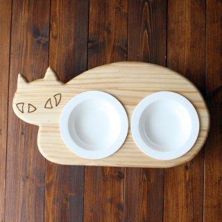 【ミニサイズ浅皿】木製ネコ型フードテーブル(フードボウル浅皿14cm付/ダブル)13.CATS.WORKSオリジナル