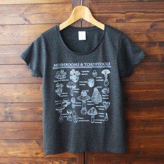 Tシャツ(キノコ図鑑とネコ)-シルクスクリーン-13.CATS.WORKS × YO-CO