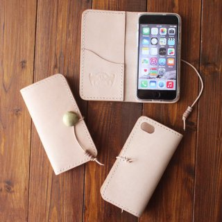 ヌメ革 手縫い 手帳型コンチョ付スマートフォンケース iPhone7用 ※他機種応相談
