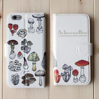 ●キノコ図鑑シリーズ● 15種のキノコと毒キノコ 手帳型スマホケース iphoneシリーズ※android対応