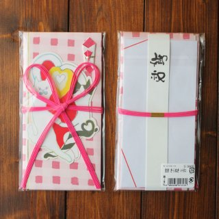 金封(ピンク)きりぬきハートネコ キムラトモミ
