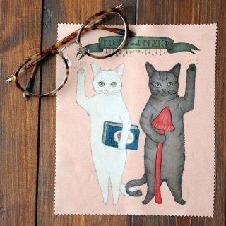 猫とネコの絵本シリーズ 猫とネコのご挨拶 メガネふき