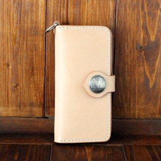 ヌメ革 iPhone手帳型ケース 25セントコンチョ
