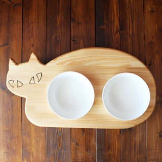 木製ネコ型 フードテーブル(フードボウル15cm付/ダブル)13.CATS.WORKSオリジナル