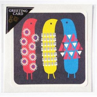 正方形グリーティングカード 「なかよし3匹」