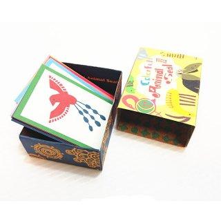 マッチ箱風 カラフルアニマルシール 1