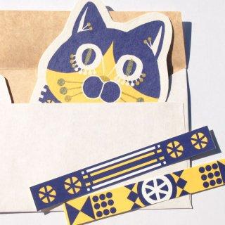 ダイカットメッセージカード BLUE  CAT