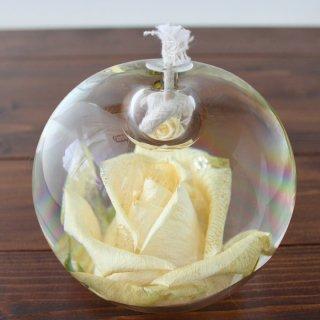 ガラス製・バラオイルランプ(白)
